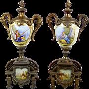 Antique Urn Garniture Pair Hand Painted Portrait Porcelain & Metal Brunfaut