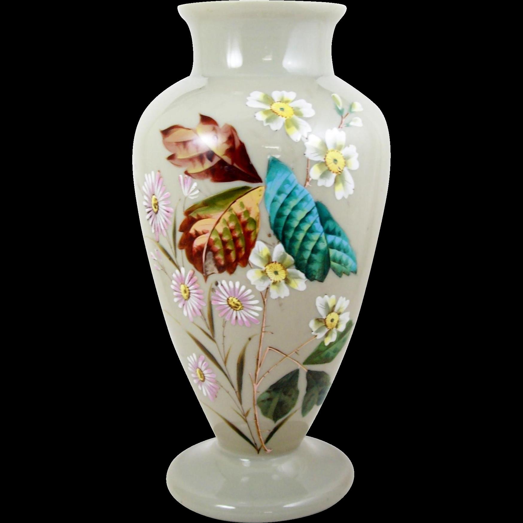 Antique bristol glass vase clam broth color hand painted for Deco pour vase transparent