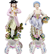 "Antique Porcelain Figurine Pair Hand Painted Applied Flowers Man & Lady 8"" Couple"