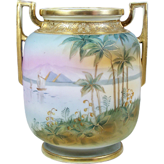 Antique Nippon Vase Hand Painted Nile River Eqypt w/ Pyramids Footed Noritake