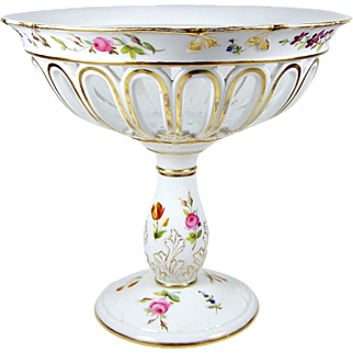 Large Vintage Hand Painted Pedestal Bowl Floral Footed Porcelain Console Tazza