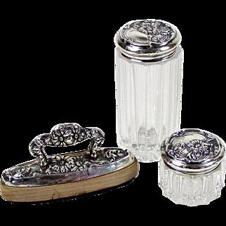 Antique Cut Glass Sterling Repousse Vanity Jar Set w/ Nail Buffer Art Nouveau