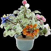 "Chinese Flowering Jade Tree Agate Quartz Carnelian Flowers Celadon Green Pot 12"""