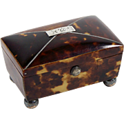 "Antique Faux Tortoise Shell Box Trinket Snuff w/ Lined Interior 2 3/8"" x 1 3/8"""