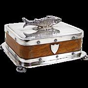 Antique English Sardine Box Fish Dish Silver Plate & Wood w/ Milk Glass Dish