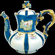 Hand Painted Portrait Teapot C T Tielsch Pink Roses Blue Green German Porcelain
