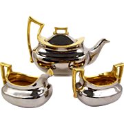 Hand Painted Limoges Teapot Tea Set Silver & Gold Assembled German Cream & Sugar