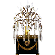 """Metal Table Lamp Glass Flowers & Prisms Brass Gallery Nightlight Accent 17"""" High"""