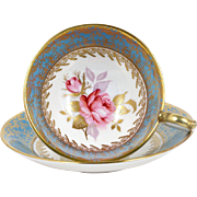 Aynsley Bone China Tea Cup Pink Rose Light Turquoise & Gold Band 1970's England
