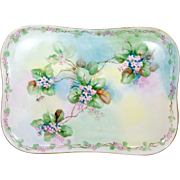 """Hand Painted Limoges Dresser Vanity Tray Pink Flowers Tri-Color 11"""" x 8"""" Oblong"""