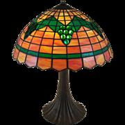 Slag Glass Table Lamp Green Grape Clusters on Orange & Cream Heavy Metal Base