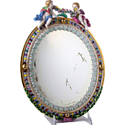 Andrea by Sadek Porcelain Mirror Meissen Style with Cherubs & Flower Garland