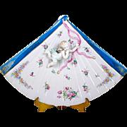 Antique Porcelain Angel Wall Plaque Sculpted Angel Figure on Fan Shaped Plate
