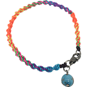 Artisan bracelet Collection: Hand braided rainbow color macramé with sky blue with gold flake Murano glass bead charm