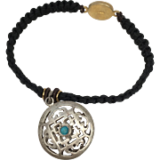 Sterling silver Mandala charm with black color hand braided bracelet with silver clasp