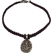 Sterling silver Ganesha charm with brown hand braided macramé bracelet with silver clasp