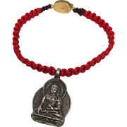 Sterling silver seated Buddha charm with red hand braided macramé bracelet with gold plated silver clasp