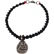 Sterling silver Padwasambhava, Guru Rinpoche charm with black hand braided macramé bracelet with silver clasp