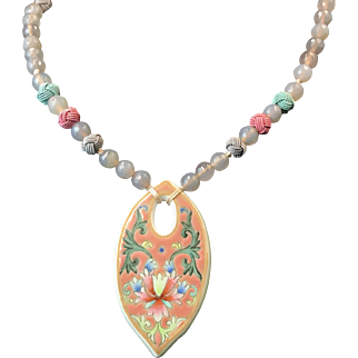 Hand painted porcelain pendant matches with smoky quartz bead and baby blue and rose knotted bead, adjustable necklace