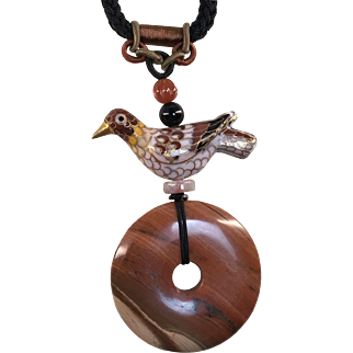 Necklace made of vintage cloisonné bird, match with picture jasper donut and an adjustable braided cord.