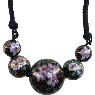 Necklace: Black vintage cloisonné beads with pink floral design and hand braided necklace