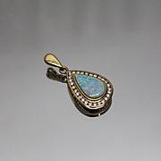 18k - 2.08 CTW - Boulder Opal & Channel Set Diamond Teardrop Pear Pendant Charm in Rich, Bright Yellow Gold