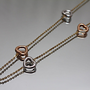 """10k - 17"""" Cable Link with Tri Color 3d Puff Open Hearts Woven into Link in Yellow, White & Rose Gold"""