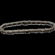 18k - 1.16ctw - Art Nouveau Art Deco Diamond and Sapphire Floral Pattern Bracelet in White Gold