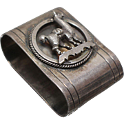 925 - Hand Made Peruvian Napkin Holder with Camel Animal on Top in Sterling Silver