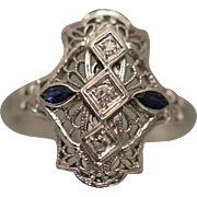 18k .33 CTW Art Deco Diamond & Sapphire Filigree Hand Made Engagement Cocktail Ring in White Gold