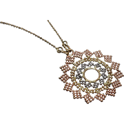 """14k - Tri Color Beaded Mandala Pendant with 17"""" Beaded Link Chain in Yellow, White & Rose Gold"""