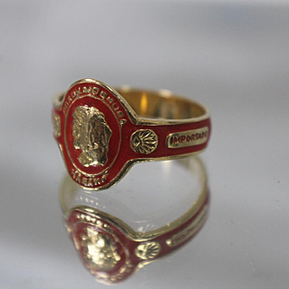 18k - Hand Finished Red Enameled Corona Cigar Ring in Rich Yellow Gold