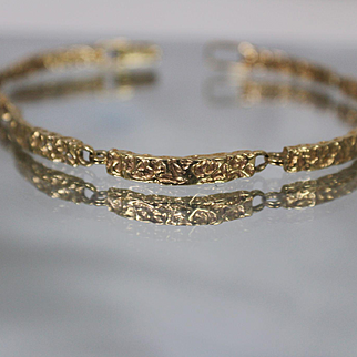 14k - Hand Made Hammered Flexible Link Bracelet in Yellow Gold