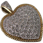 10k - .33 ctw - Diamond Encrusted Two Tone Frosted Heart Pendant Charm in Yellow & White Gold