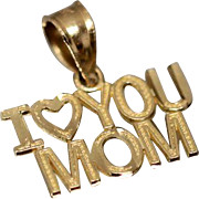 14k I Love You Mom Pendant Charm in Yellow Gold