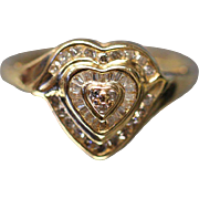 1.00 CTW Diamond Heart Cluster with Cut Out Sides in 14kt Yellow Gold