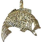 14k Large Open Mouth Bass Fish Fisherman Pendant Charm Highly Detailed in Yellow Gold