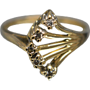 14KT Elegant Five Prong Thin Diamond Ring in Yellow Gold