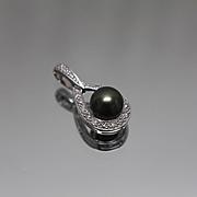 14k - .10 CTW - Black Pearl & Diamond Tear Drop Pendant Charm in White Gold