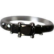 1.00 CTW - 10K -  Black Diamond Past Present Future Engagement Ring with Accents in white gold