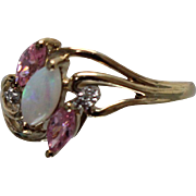 10k - .75 ctw - Fire Opal & Pink Sapphire Marquise Cluster in Yellow Gold