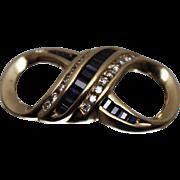 14k - 1.00 CTw - Retro Diamond & Sapphire Infinity Sign Slide Pendant Charm in Yellow Gold