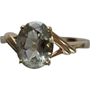 10k - 2.40 ct - Green Amethyst Solitaire Ring in X Sash Style Mounting in Yellow Gold