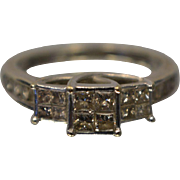 1.50CTW 14KT Past Present Future Princess Cut and Round Diamond Ring in White Gold