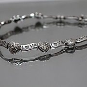 "925 - 7.5"" Diamond Accented Hugs & Kisses Love Link Bracelet in Sterling Silver"