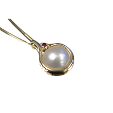 14KT 12MM Mabe Pearl Ruby Accented Swirl Pendant Charm Box Link Chain Necklace in Yellow Gold
