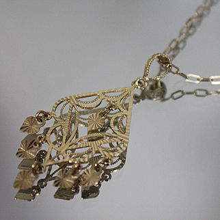 """14k - 18"""" Cable Link with Unique Chandelier Diamond Cut Marquise Dangle Pendant in Yellow Gold"""