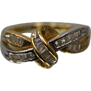10KT Two Toned Dual Shaped Diamond Ring with Handmade Ribbon Intersecting Mount in Yellow and White Gold