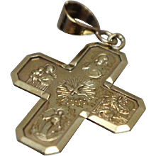 14k - West Germany Religious Scene Cross Pendant with Father Son Holy Spirit Mary in Yellow Gold