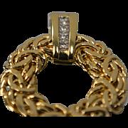 14KT Byzantine Wreath Circle Round Diamond Pendant Charm in Yellow Gold